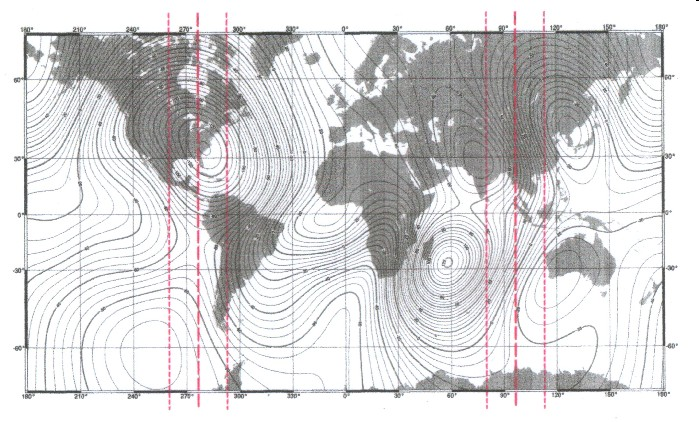 Map of the annual magnetic change with main meridian